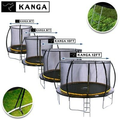 KANGA PREMIUM 6FT 8FT 10FT 12FT Trampolines With Enclosure, Ladder & Anchor Kit • 199£