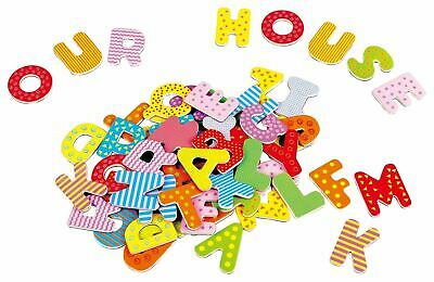 Lelin 60PC Wooden Magnetic Uppercase Learning Alphabet Letters For Children • 9.99£