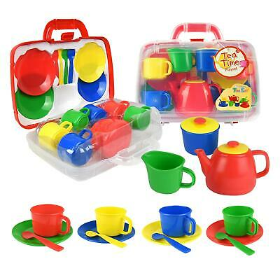 Vinsani Kids 15 Piece Red Portable Plastic Tea Set With Carry Case For Age 3+ • 10.99£