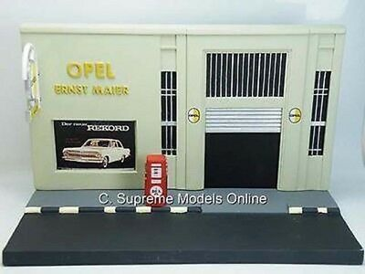 Service Station Garage Diorama Model Opel + Sign/pump Resin Version T3412x{:} • 42.99£