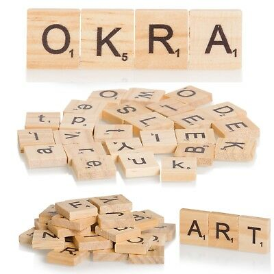 Wooden Scrabble Letters 100 Wood Craft Tiles Black Word Alphabet Board Game • 12.95£