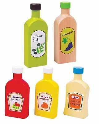 Lelin Wooden Wood Childrens Pretend Play Kitchen Food Oil & Sauces 5 Pc Pieces  • 9.99£