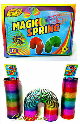 15cm Amazing Rainbow Magic Spring Coil Slinky Fun Toy 10m Stretching Bouncing • 5.99£