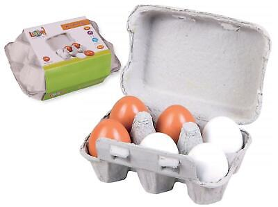 Lelin 6 Wooden Fake Eggs In Carton Pretend Play Toy Set - 7 Pieces • 6.99£