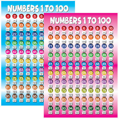 Numbers 1 To 100 Posters, Educational Kids, Children, Classroom, School, Nursery • 6.99£