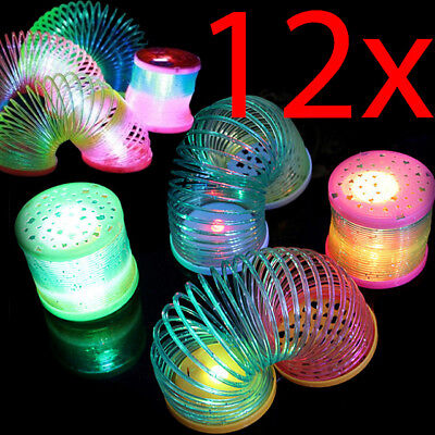 12 X Magic Light Rainbow 5cm Kids Coil Gift Fun Activity Classic Slinky Toy Led • 9.99£