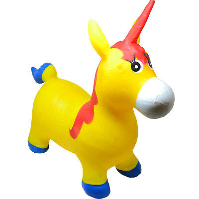 Kids Inflatable Unicorn Jump Bounce Space Hopper Outdoor Animal Ride On Toy Fun • 9.99£