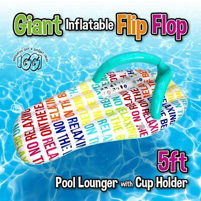 LARGE INFLATABLE FLIP FLOP Giant Swimming Pool Sun Beach Lilo Lounger Air Bed UK • 12.99£