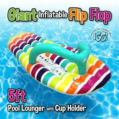 LARGE INFLATABLE FLIP FLOP Giant Swimming Pool Sun Beach Lilo Lounger Air Bed UK • 13.99£