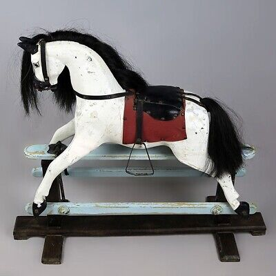 Antique C1930s Sml English Rocking Horse, Lines Bros Sportiboy, Orig Paint Layer • 495£
