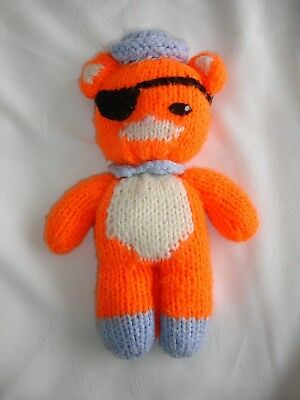 Hand Knitted Home Made Orange Pirate Cat Soft Toy • 7.50£