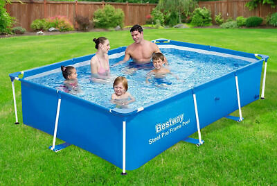 Bestway Pro Steel Frame Rectangular Swimming Pool Garden Family Outdoor Paddling • 199.95£