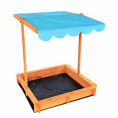 NEW! Childrens Wooden Garden Sand Pit With Adjustable Canopy Sun Shade • 49.99£