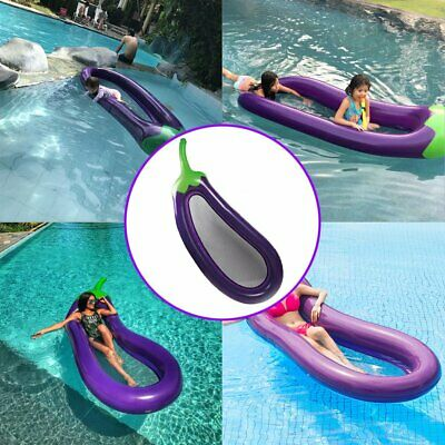 Inflatable Floating Swimming Ring Eggplant Mattress Circle Island Cold Water Toy • 13.99£