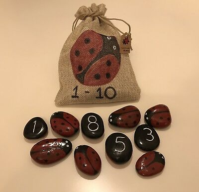 Hand Painted Ladybird Number Stones (1-10) • 35£