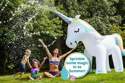 Large Inflatable Unicorn Sprinkler Water Beach Party 6ft Kids Giant Sprayer • 29.95£