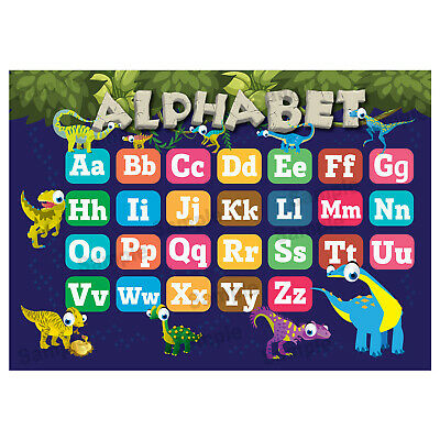 Abc Alphabet Poster, Kids Educational Wall Chart, Classroom, Dinosaurs Theme • 3.99£