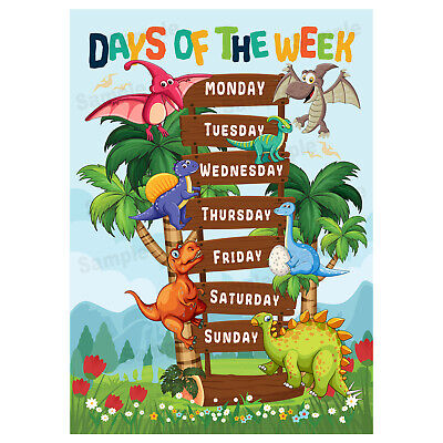 Days Of The Week Poster For Kids, Early Learning Educational Wall Chart Dinosaur • 3.99£