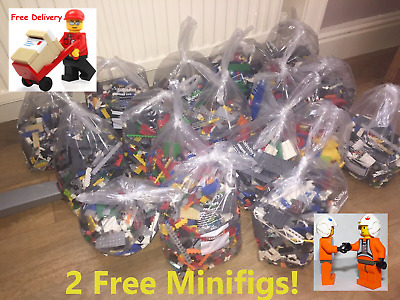 1kg Lego Bricks Parts Job Lot Ideal For Birthdays Or Christmas & Free Figures   • 20£
