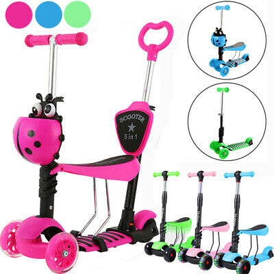 Kids 5/3 In1 Mini Kick Scooter Flashing LED Wheels T-Bar Tilt Push With Seat  • 24.97£