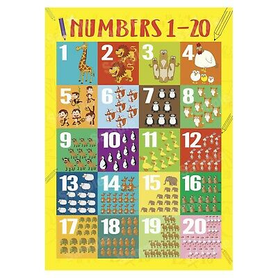Numbers 1 To 20 First Learning Educational Wall Chart Kids Poster, Animals Theme • 3.99£