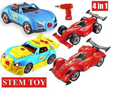 SOKA® 4 In 1 Sports Racing Car Set Take-A-Part Toy With Drill - Build 2 Cars • 19.99£