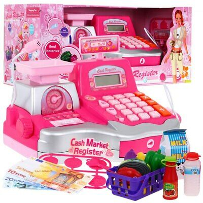 Super Toy Cash Register With Accessories Microphone Calculator Barcode Scanner • 26.99£