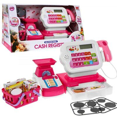 Super Toy Cash Register With Accessories Store Scale Calculator Barcode Scanner • 25.99£