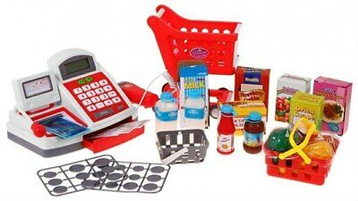 Super Toy Cash Register Accessories Shopping Trolley Calculator Barcode Scanner • 27.99£