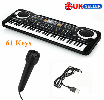 61 Key Electronic Piano Toys Digital Music Keyboard Organ & Microphone USB Cable • 9.99£