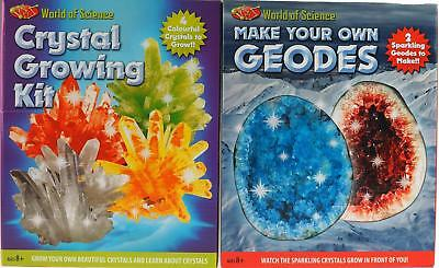 Set Of 2 Older Kid's Science Gifts - Grow Your Own Crystals / Geodes Kit • 12.99£