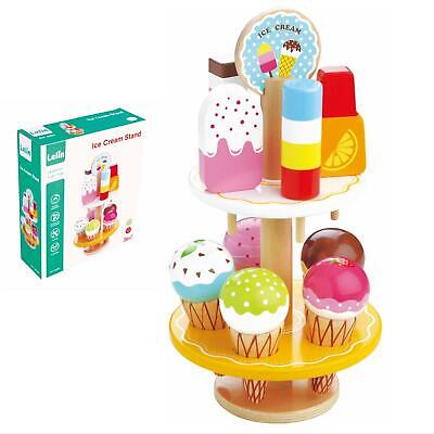 LELIN 10 Pcs Wooden Ice Cream Stand Pretend Play Kitchen Food Toy Set • 16.99£