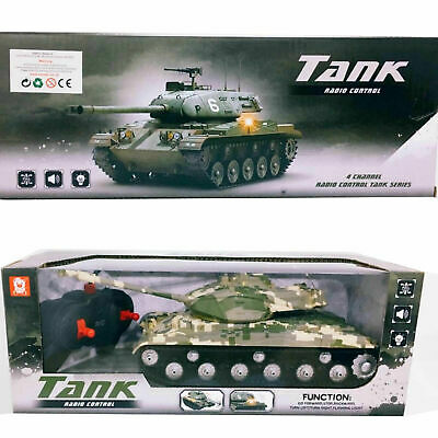 Kids 4 Chanel Remote Control Army Battle Tank Toy Battery Operated Light & Sound • 13.99£