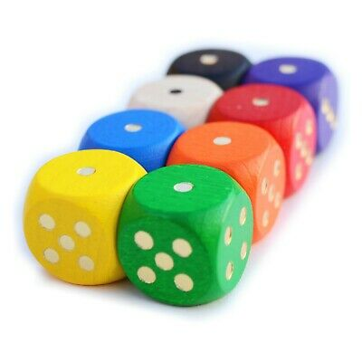 SET 8 WOODEN COLOURED DICE 16mm Six Sided D6 UK Game Board Spot RPG Spare C34 • 4.69£
