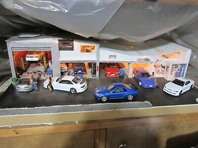 1:24 Scale JDM Garage Diorama With Cars,lights, Figures Must See • 250£