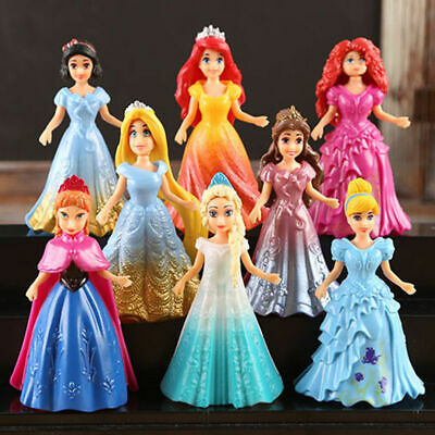 8pcs Movie Disney Princess Action Figures Changed Dress Doll Kids Girl Toy Gift • 8.99£