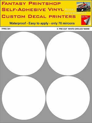 RC VINYL STICKERS  DECALS   PRE CUT  4  100mm  CIRCLES    FPRC301  WHITE  GLOSS • 7.95£