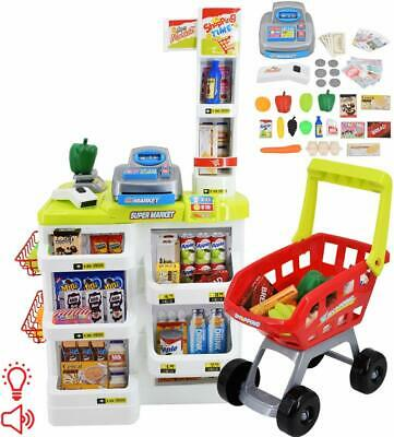 DeAO Supermarktstand With Shopping Cart & Food For Children New • 36.75£