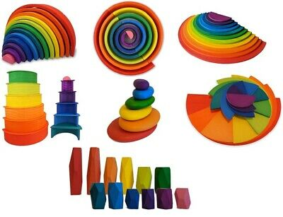 Gamez Galore Wooden Rainbow Colourful Stacking, Balancing And Sorting Blocks Toy • 43.99£