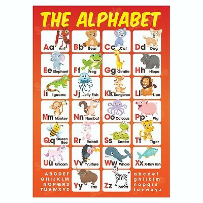 ABC Alphabet Educational Poster, Pre-School First Learning, Homeschooling Kids • 3.99£