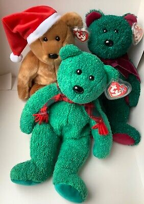 Group X 3 Ty Bear Beanie Large Buddies Mint Condition Retired Holiday Christmas  • 18.99£