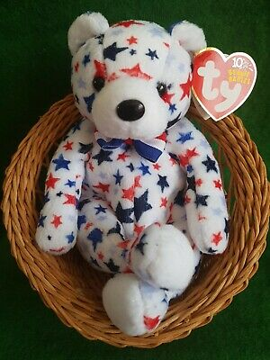 Ty Beanie Bear  WHITE  TY Store Exclusive~Independence Day~With Mint Tags.  • 9.99£