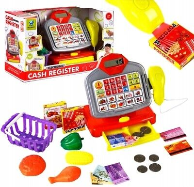 Toy Cash Register With Accessories Calculator Scanner Shopping Basket Money • 16.99£