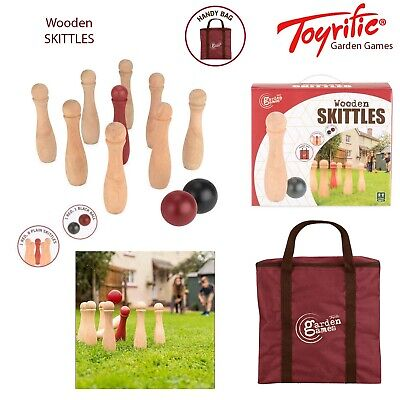 Toyrific Wooden Skittles 9 Pin Bowling Set Outdoor Summer Garden Family Fun Game • 24.98£