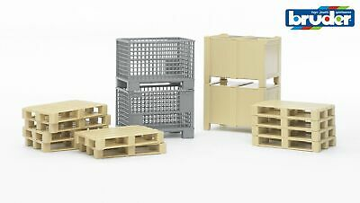 Logistics Play Set Accessories - Bruder 02415 - Pallets Forklift Scale 1:16 NEW • 18.50£