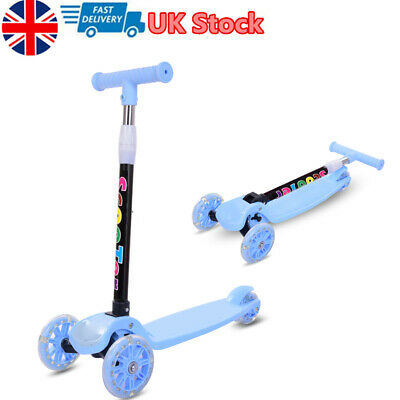 Kids Scooter For Boys & Girls Kick Light Up 3 Wheel Adjustable Tilt & Turn • 16.99£