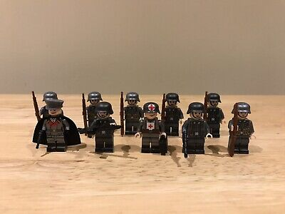 German WW2 Squad Of Soldiers Officer & Medic Unbranded Figures Fit Lego Studs 10 • 13.45£
