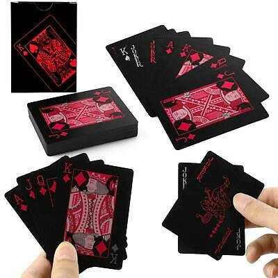 High PVC Plastic Poker Waterproof Magic Playing Cards Table Game Black & Red • 3.05£