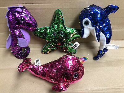 "Sequin Plush Soft Toys Sea Life Set 10"" 35cm Narwhal Dolphin Horse Reversible • 15.99£"