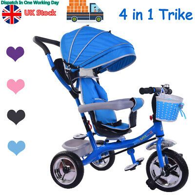4 In1 Kids 3 Wheel Trike Push Along Tricycle Children Baby Buggy W/Parent Handle • 69.99£